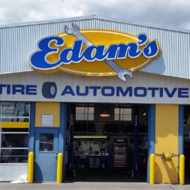 Exterior signage for Edam's Tire & Automotive.