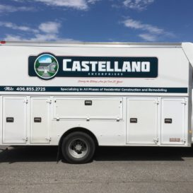 Simple graphics on a work van for Castellano Enterprises.