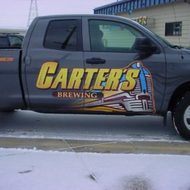 Door lettering and graphics for Carter's Brewing