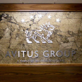 Custom wall signage for Avitus Group's office