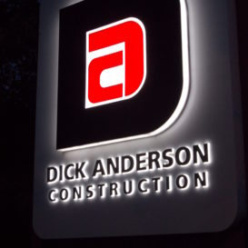 Lighted signage for a Billings-based construction company.