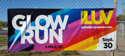 Vibrant custom event banner for the Glow Run