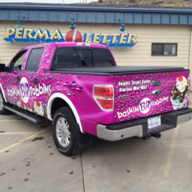 Rear view of truck graphics for Baskin Robbins.