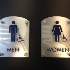Bathroom signs with frosted glass effect