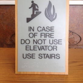 In Case of Fire - ADA sign