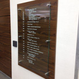 Modern glass directory sign
