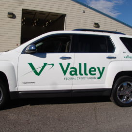 Vehicle lettering for Valley FCU.