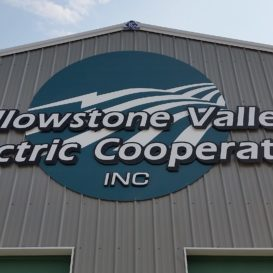 Building signage for Yellowstone Valley Electric