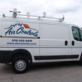 Understated van graphics for Air Controls.