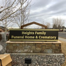Heights Family Funeral Home Exterior Sign