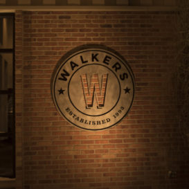 Walkers - Exterior sign on brick wall