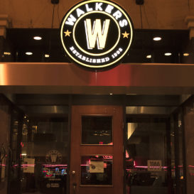 Illuminated sign for Walkers Grill.