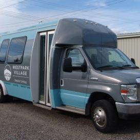 Full vehicle wrap for a senior living facility.