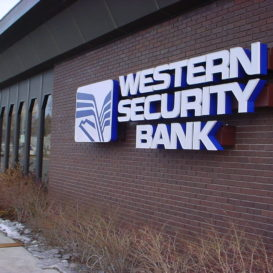 Building sign for Western Security Bank